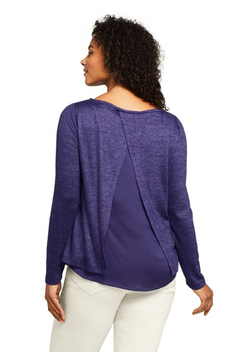 Women's Plus Size Knit Woven Mix Split Back Top