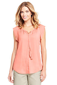 Womens Petite Summer Top with Pintucks - 10 -12 - RED Lands End Sale With Mastercard Footlocker Pictures For Sale Clearance Recommend Reliable SmFcRC