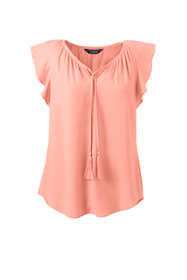 Women's Flutter Sleeve Crepe Blouse