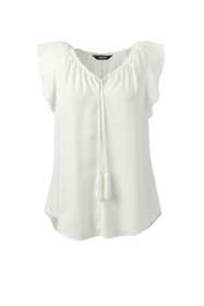 Women's Plus Size Flutter Sleeve Crepe Blouse