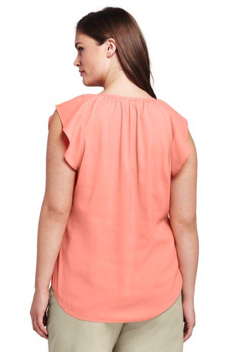 Women's Plus Size Flutter Sleeve Crepe Blouse