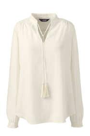 Women's Petite Crepe Ruffle Collar Blouse