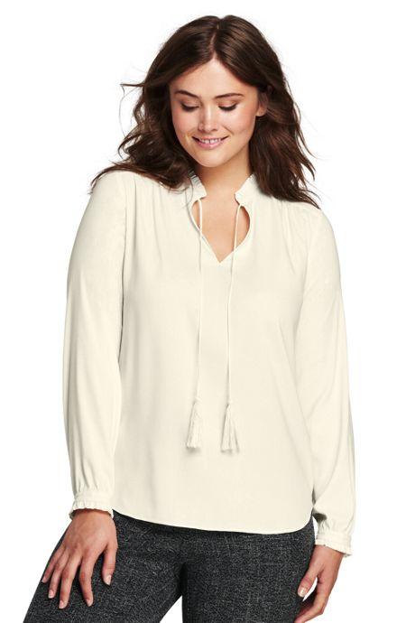 Women's Plus Size Crepe Ruffle Collar Blouse