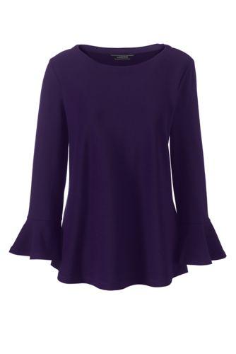 Ponté-Shirt mit 3/4-Volantärmeln für Damen
