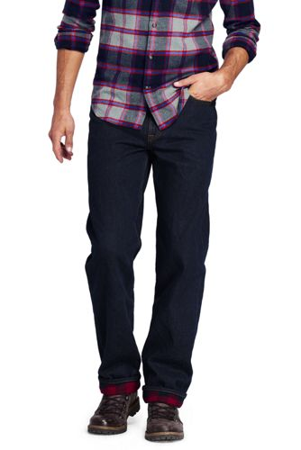 Men's Traditional Fit Flannel-lined Jeans