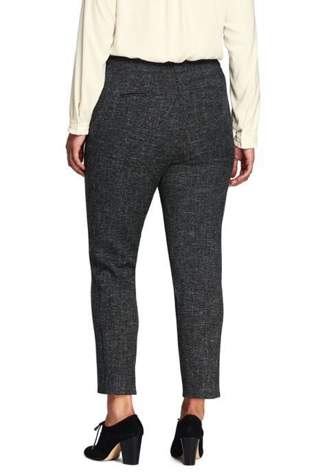 Women's Plus Size Mid Rise Basketweave Pencil Pants