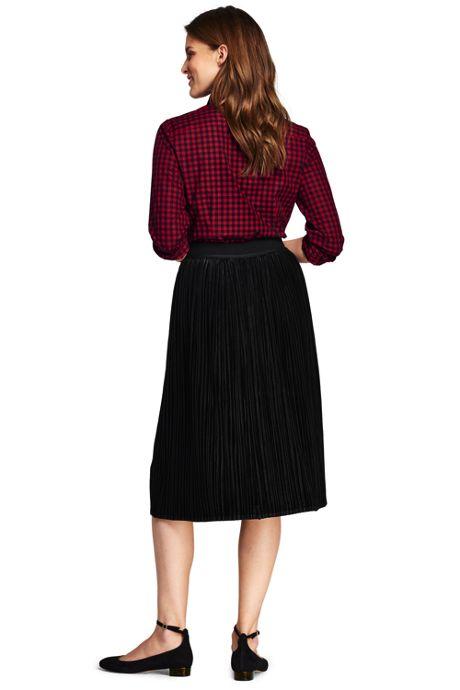 Women's Petite Knit Pleated Velvet Skirt