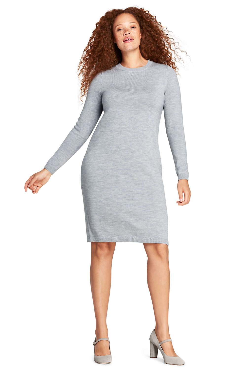 Women\'s Plus Size Long Sleeve Merino Sweater Dress from Lands\' End