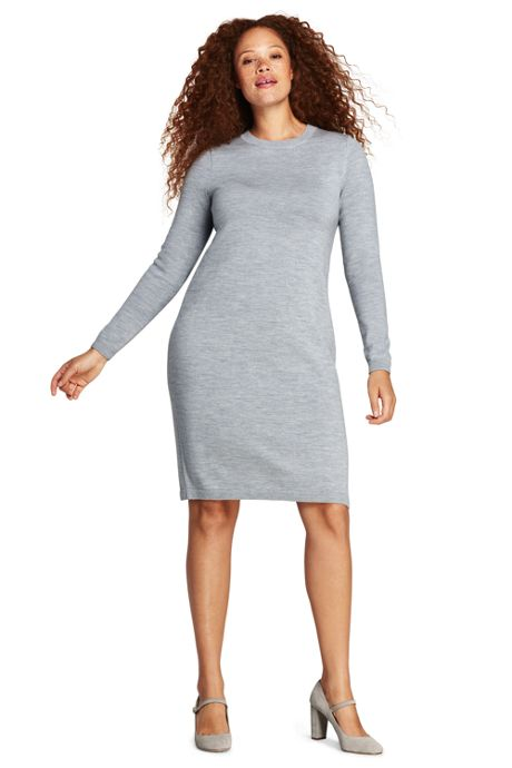 Womens Plus Size Long Sleeve Merino Sweater Dress Sweater Dresses