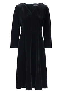 Women's 3-quarter Sleeve Velvet A-line Dress