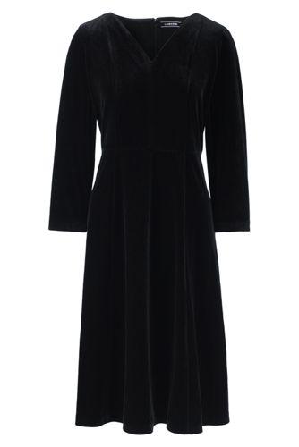 La Robe Évasée en Velours Stretch et Col V, Femme Stature Standard