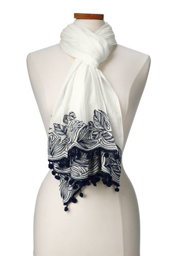 Women's Scarf with Embroidery and Pom Poms