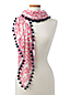 Women's Scarf in Pink Flamingo Print with Pom Poms