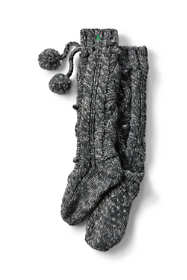 Women's Hand Knit Cable Slipper Socks