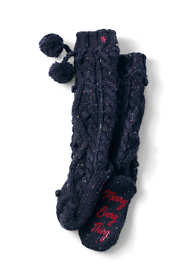 Women's Hand Knit Cable Slipper Socks