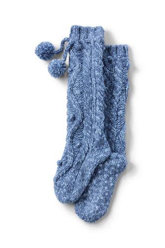Handgestrickte Kuschel-Socken mit Zopfmuster für Damen