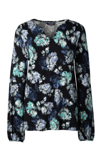 Women's Cotton/modal Notch-neck Printed Top