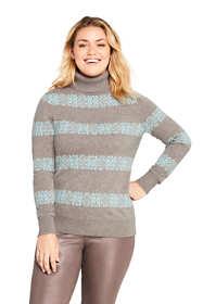 Women's Plus Size Cashmere Turtleneck Sweater Snowflake