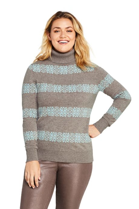 Women's Plus Size Cashmere Turtleneck Sweater Snowflake