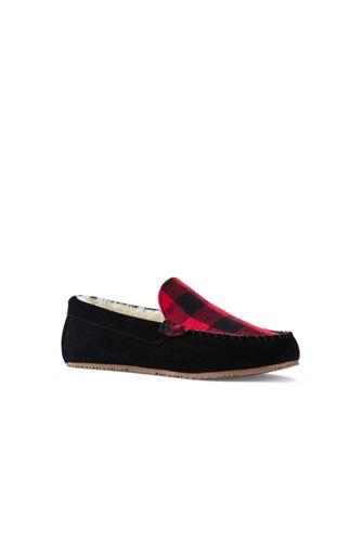 Mens Suede Check Moccasin Slippers - 10 - RED Lands End LbKn5E