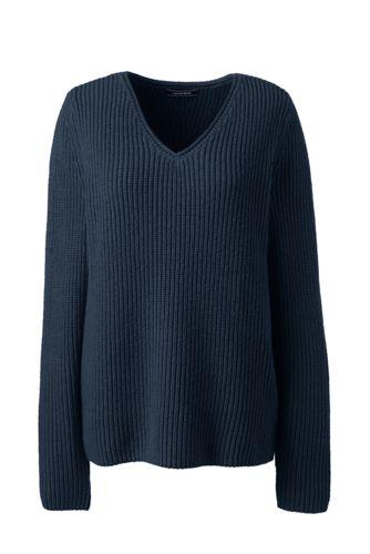 Shaker-Pullover mit V-Ausschnitt für Damen in Normalgröße