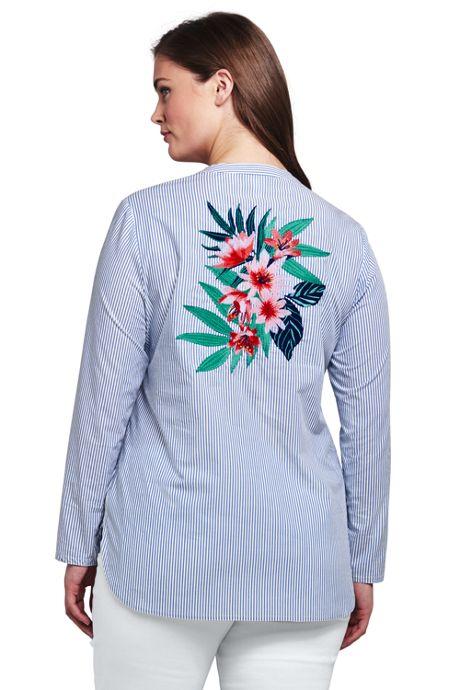 Women's Plus Size Poplin Embroidered Popover
