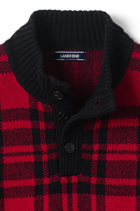 Men's Wool Blend Tartan Button Mock Sweater