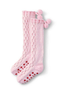 Girls' Cable Slipper Socks