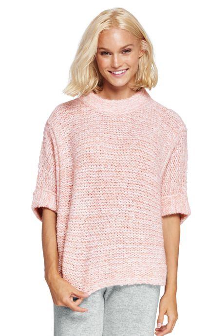Women's Wool Blend 3/4 Sleeve Funnel Neck Sweater
