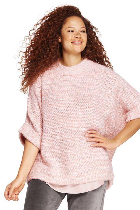 Women's Plus Size Wool Blend 3/4 Sleeve Funnel Neck Sweater