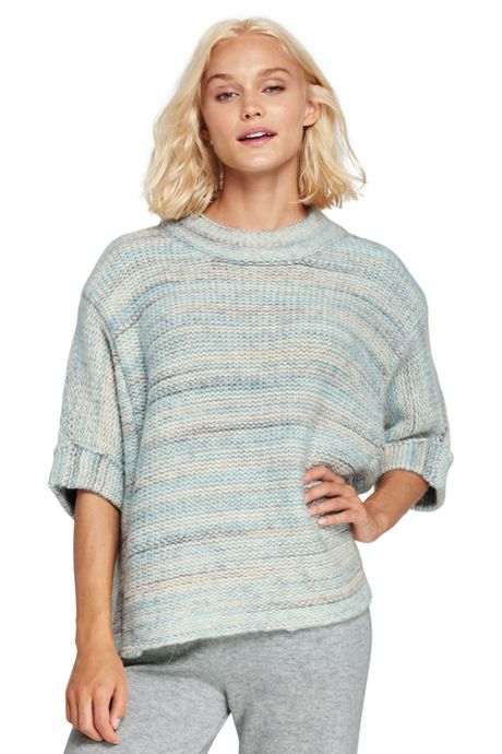 Women's Wool Blend 3/4 Sleeve Funnel Neck Sweater