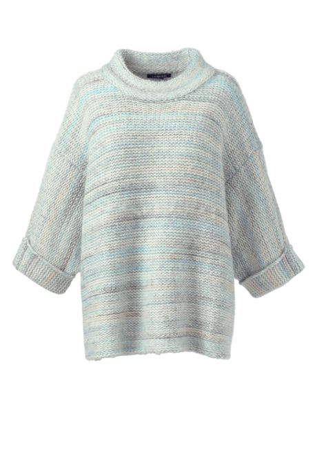 Women's Plus Size Wool Blend 3/4 Sleeve Funnel Neck Sweater