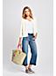 Le Jean Court Stretch Large Ourlets Effilés Taille Mi-Haute, Femme Stature Standard