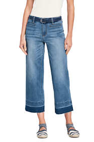 Women's Petite Mid Rise Released Hem Wide Leg Crop Jeans