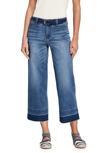 Women's Plus Size Mid Rise Released Hem Wide Leg Crop Jeans