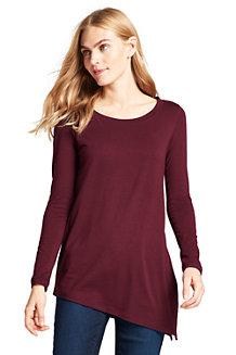 Langes Baumwoll/Modal-Shirt mit asymmetrischem Saum für Damen