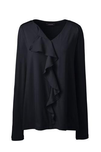 Baumwoll/Modal-Shirt mit Volant-Ausschnitt für Damen