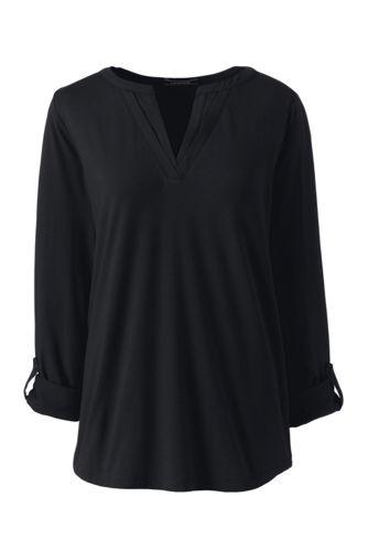 Le Haut en Coton/Modal Stretch Col V Satiné, Femme Stature Standard