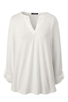 Women's Satin Trim Roll Sleeve Top