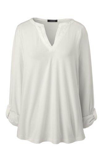 Baumwoll/Modal-Shirt mit verziertem Ausschnitt für Damen