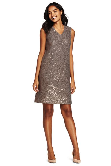 Women's Petite Sleeveless Sparkle Shift Dress