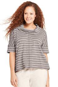 Women's Plus Size Stripe Dolman Sleeve Cowl Neck Top