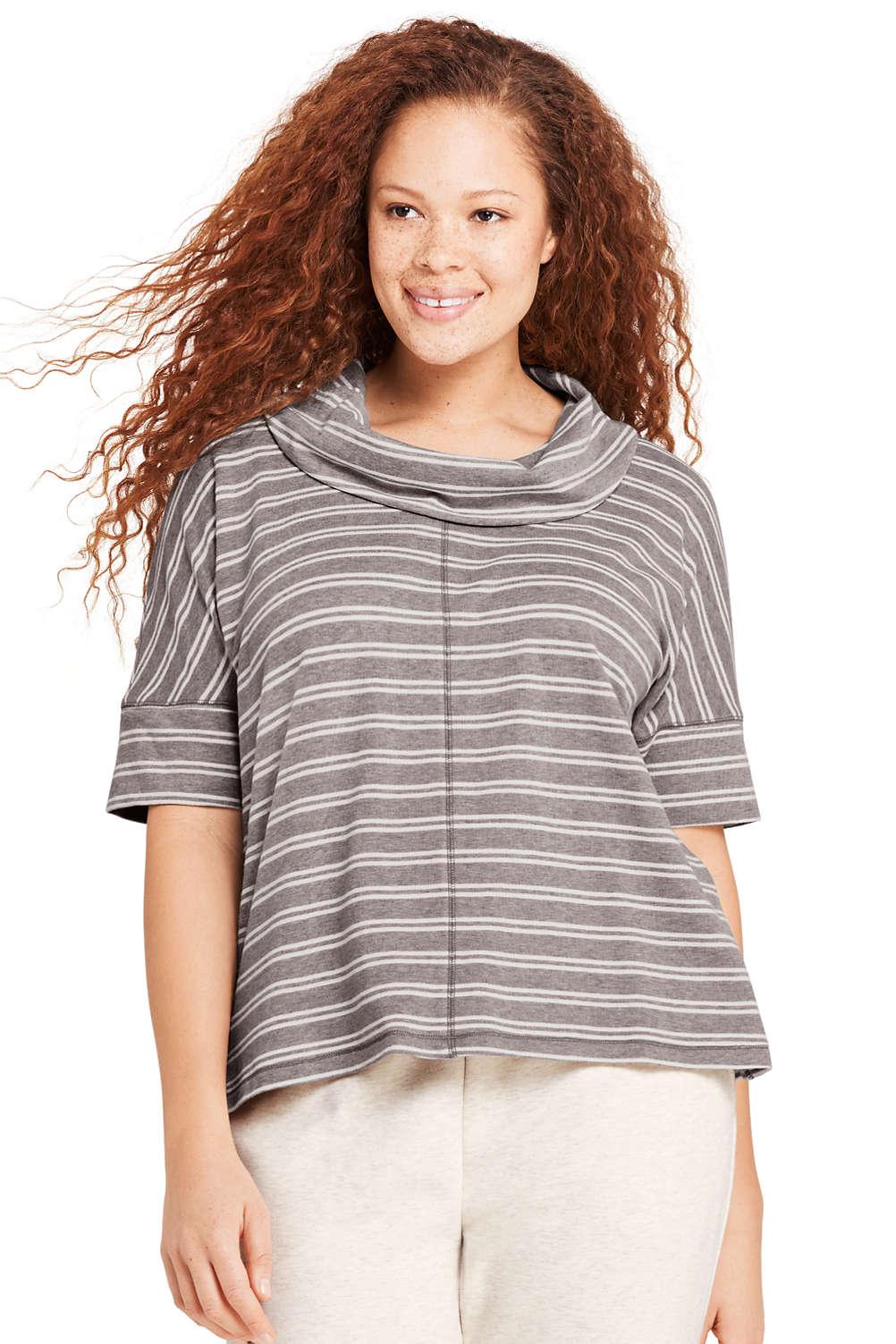 bff4f8a67feb Women s Plus Size Stripe Dolman Sleeve Cowl Neck Top from Lands  End