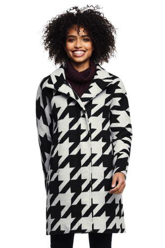 Mantel aus Wollmix für Damen Gemustert