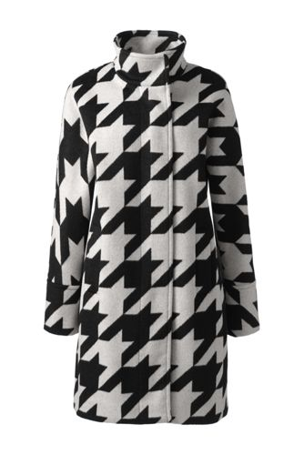 Women's Houndstooth Wool Blend Coat