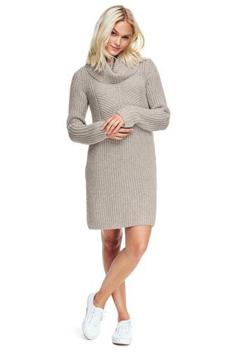 La Robe Pull Lounge Col Boule en Laine Mélangée, Femme Stature Standard