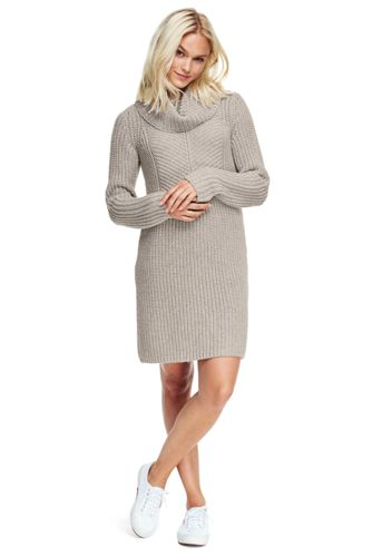 Women's Merino Blend Shaker Cowl Neck Sweater Dress from Lands' End