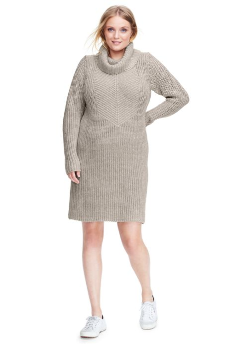 Womens Plus Size Merino Blend Shaker Cowl Neck Sweater Dress