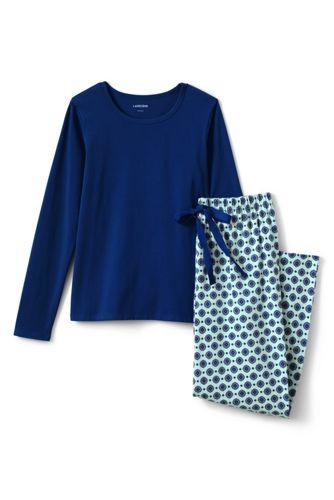Jersey Pyjama-Set mit gemusterter Hose für Damen in Normalgröße