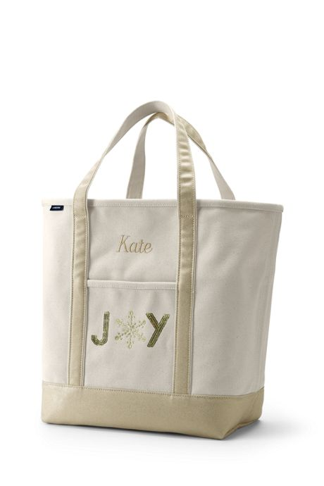 Embroidered Large Open Top Tote